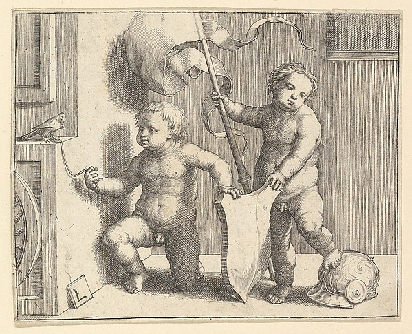 Fascinating Historical Picture of Lucas van Leyden with Two Nude Children Supporting a Blank Shield in 1510