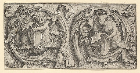 Fascinating Historical Picture of Lucas van Leyden with Triton and Siren in Tendrils in 1510