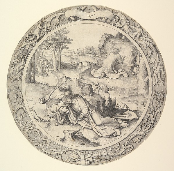 Fascinating Historical Picture of Lucas van Leyden with Christ on the Mount of Olives from the Circular Passion in 1509