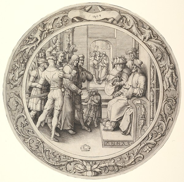 Fascinating Historical Picture of Lucas van Leyden with Christ before Annas from the Circular Passion in 1509