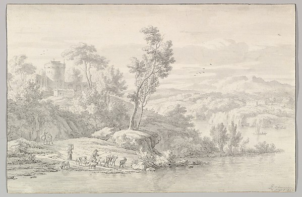 Southern Landscape with Figures and Cattle at a River
