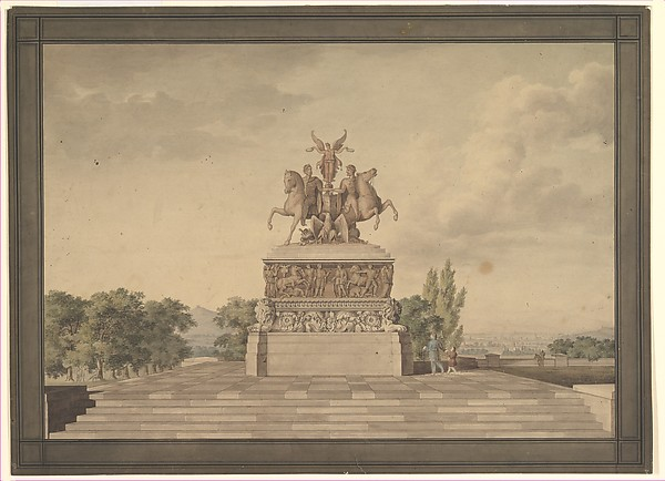 Design for a Monument of the Victory of Waterloo (recto); Portico with Corinthian Columns (verso)