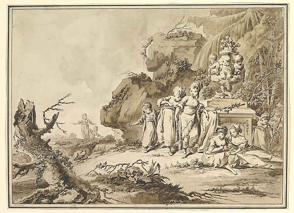 Fascinating Historical Picture of Tiberius Domenikus Wocher with Landscape with Children in Oriental Costume in 1773
