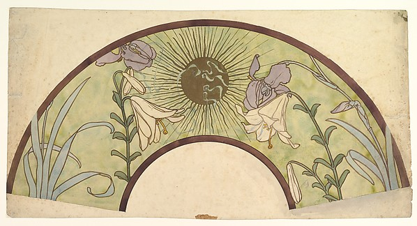 Design for a Fan with Sunburst, Lilies, and Irises
