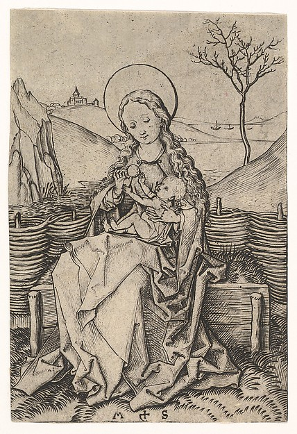 Virgin and Child on a Grassy Bench