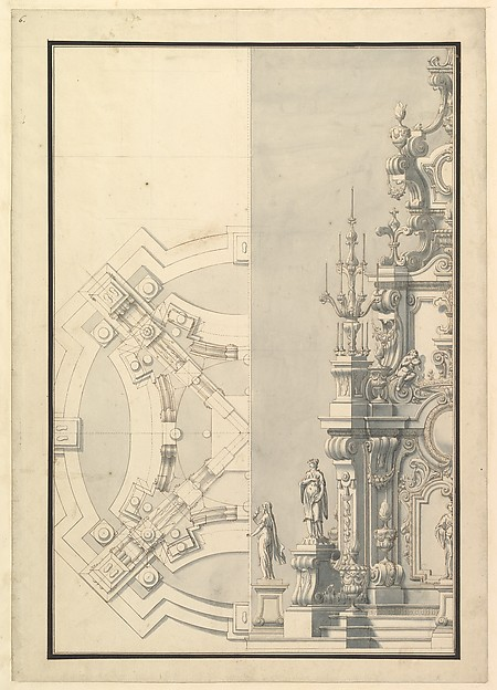Fascinating Historical Picture of Giuseppe Galli Bibiena with Half Ground Plan and Half Elevation for a Catafalque for Duke Francesco of Parma (1694-1727) in 1727