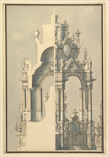 Elevation and Section for a Catafalque for the Dauphin of France, d. 1711