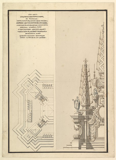 Design for Half Elevation and Half Ground Plan of a Catafalque for Countess Palatine of the Rhine, Theresia Catharine, wife of Count Palatine, Charles Philip III (1716-1742).