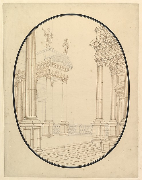 Architectural Perspective, in an Oval: Porch of a Palace with Corinthian Colums.