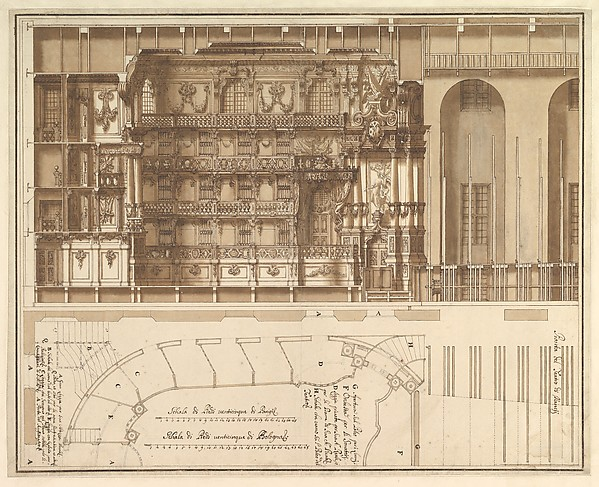 Designs for the Theater at Nancy: Longitudinal Section and Half Ground Plan