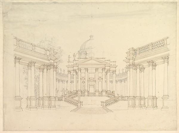 """Design for Stage Set: Centralized Villa with Cupola (""""Villa rotunda"""" Style) and Colonnaded Wings."""