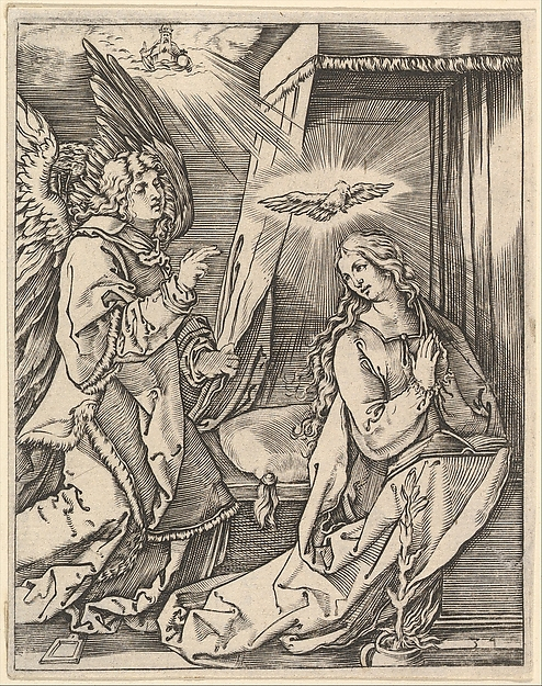 The Annunciation; on the left the archangel Gabriel approaches the praying Virgin Mary in her bedchamber, over her head a dove representing the Holy Ghost, in the sky above a figure of God the Father, after Dürer