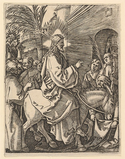 The Entry into Jerusalem;  Christ riding on a donkey towards an arched city gate; an elderly man spreads out his cloak on the road, after Dürer