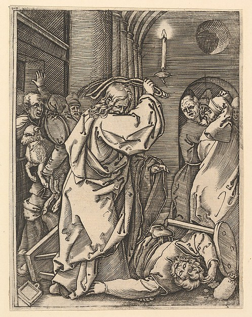 The Cleansing of the Temple; Christ driving the money-changers from the temple and raising a scourge over his left shoulder, as if to strike a man on the floor, after Dürer