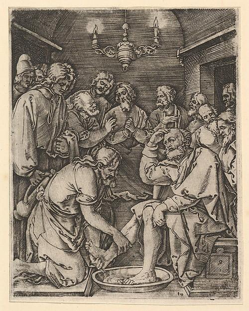 Christ kneeling and washing St Peter's feet, after Dürer
