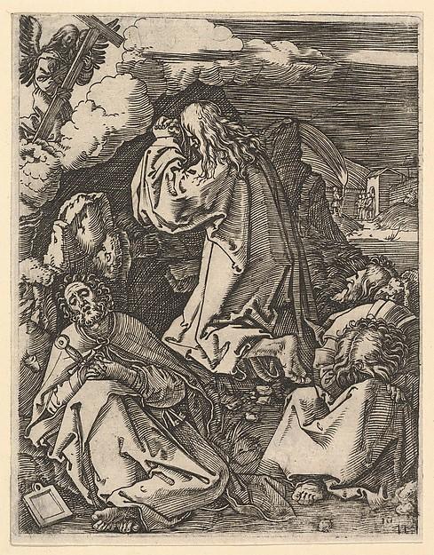 Christ praying on Mount of Olives; Roman soldiers entering through garden gate in far background, after Dürer