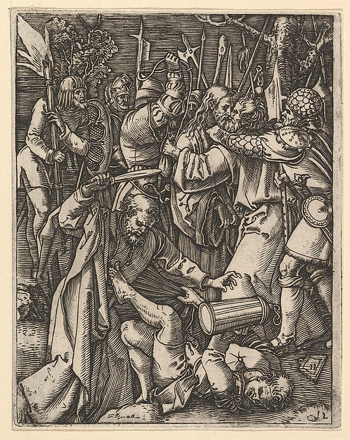 Judas kissing Christ surrounded by soldiers; St Peter attacking Malchus in foreground, after Dürer