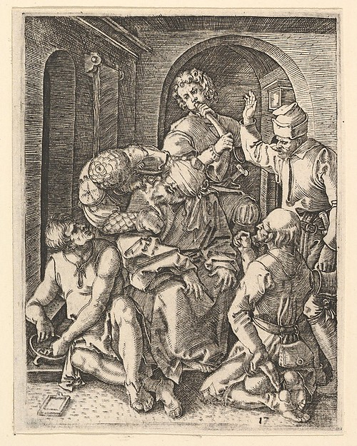 The mocking of Christ who is seated in center, blindfolded, after Dürer