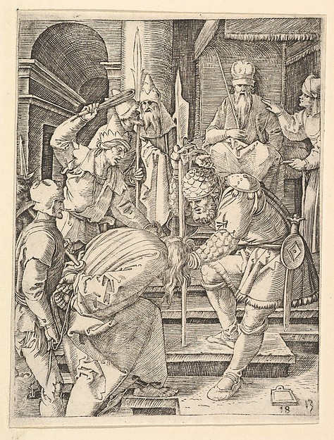 Christ captured and being dragged by hair up steps before the throne of the high priest  Annas, after Dürer