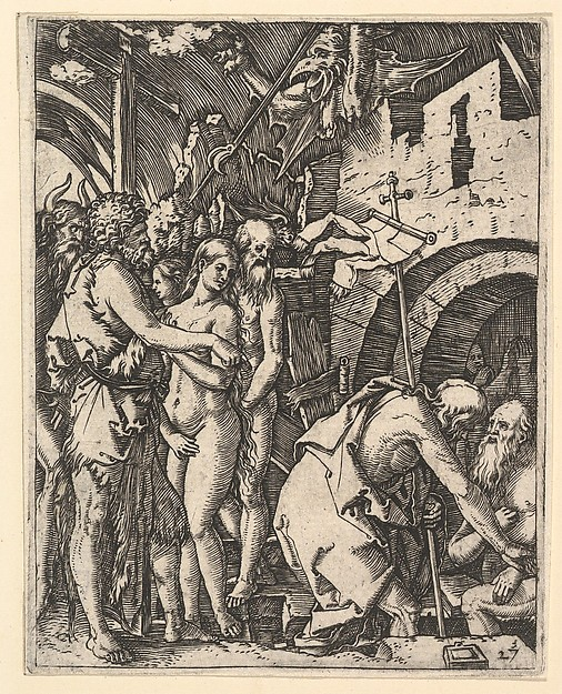 Christ in Limbo; Christ walking down to the arched gateway to Limbo on the right, on the left a group of people including Moses, John the Baptist, Adam and Eve, after Dürer