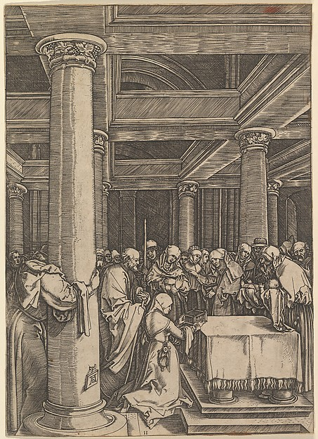 The presentation of Jesus to Simeon in the temple, after Dürer