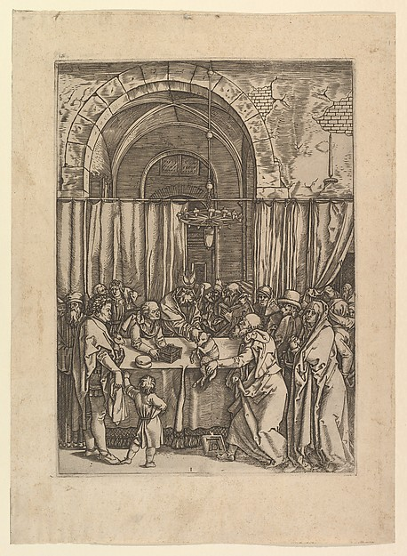 High priest refusing sacrificial lamb from Joachim, after Dürer