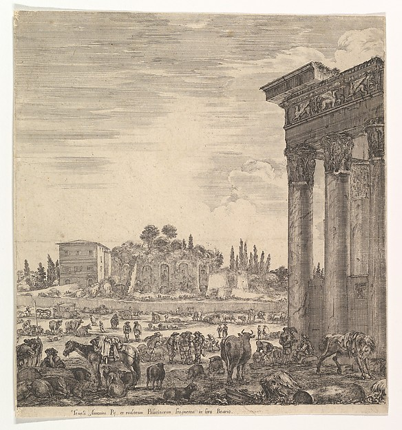 This is What Stefano della Bella and The columns of the Temple of Antoninus to right a part of the Campo Vaccino in center and at left Looked Like  in 1656
