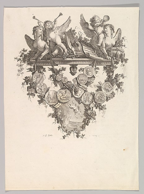 Fascinating Historical Picture of Jean-Baptiste Huet I with Vignette with Sphinxes and Putti in 1779