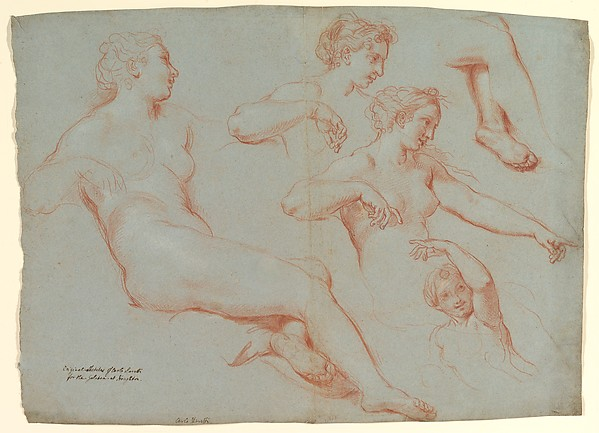 Fascinating Historical Picture of Carlo Maratti with Four Studies of Recumbent Female Nudes (Galatea) in 1713