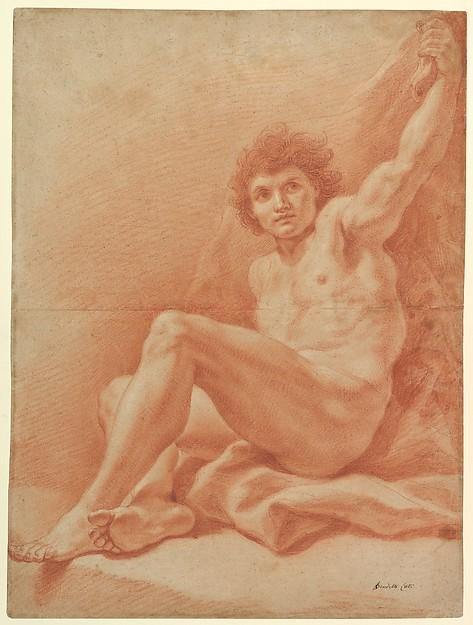 Seated Nude Male Figure (recto); Seated Figure (verso)