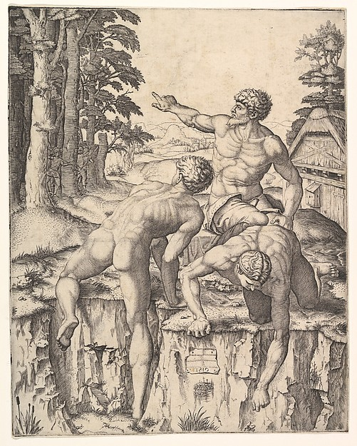 The Climbers: three naked men, one seen from behind climbing onto a river-bank, soldiers emerge from the forest in the background
