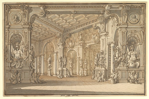 Fascinating Historical Picture of Younger with Design for a Stage Set in 1728