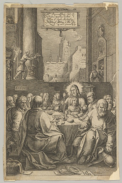 Fascinating Historical Picture of Ludovicus Siceram with The Last Supper from The Passion of Christ in 1623