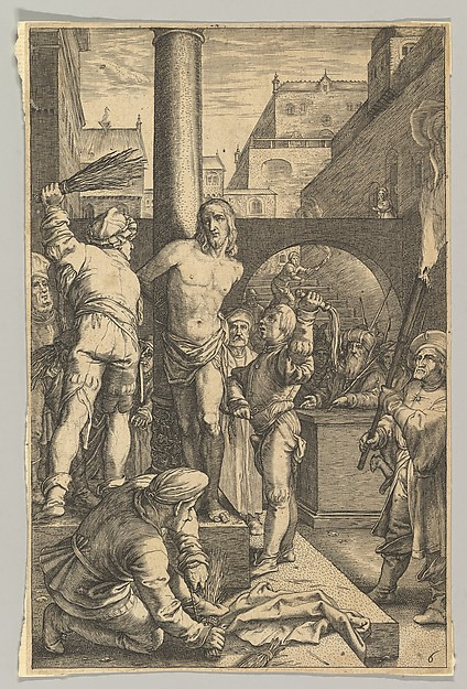 Fascinating Historical Picture of Ludovicus Siceram with The Flagellation from The Passion of Christ in 1623