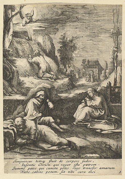 Christ on the Mount of Olives, from The Passion of Christ (after H. Goltzius)
