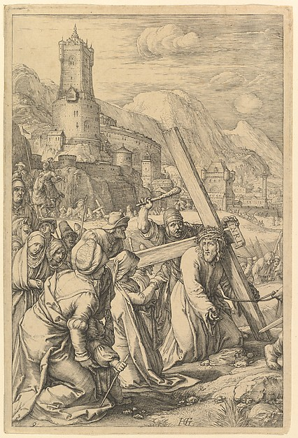 Fascinating Historical Picture of Hendrick Goltzius with Christ Carrying the Cross from The Passion of Christ in 1596
