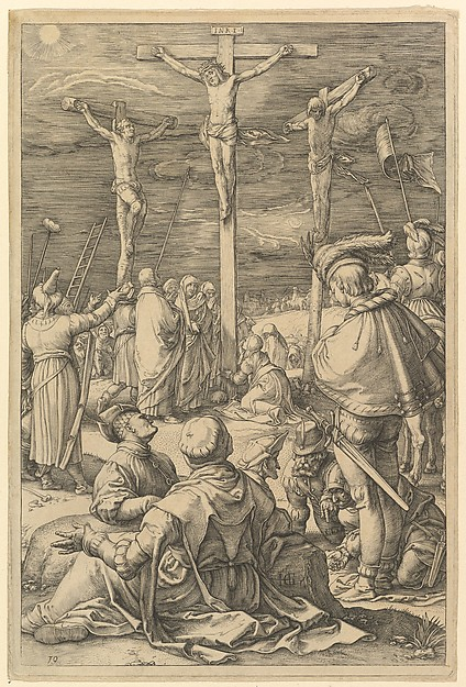 Fascinating Historical Picture of Hendrick Goltzius with Christ on the Cross from The Passion of Christ in 1596