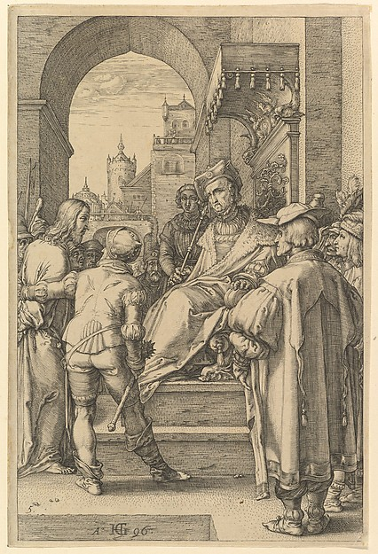 Fascinating Historical Picture of Hendrick Goltzius with Christ Before Pilate from The Passion of Christ in 1596