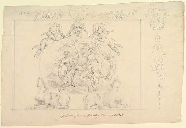 This is What John Sanderson and Design for the painting Mars Venus  Cupid for the Dining Room at Kirtlington Park Oxfordshire Looked Like  in 1747
