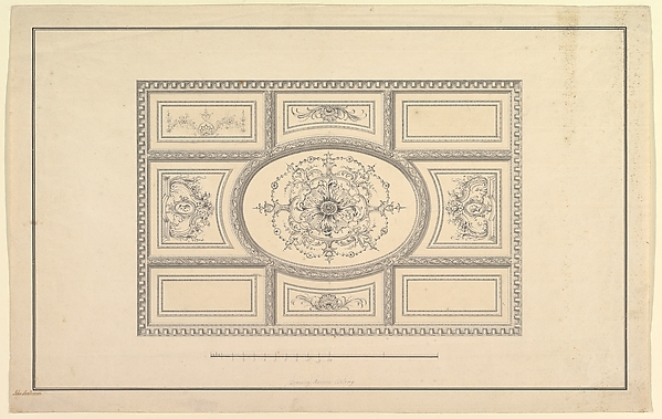 This is What John Sanderson and Design for Ceiling at Kirtlington Park Oxfordshire Looked Like  in 1747