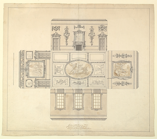 Fascinating Historical Picture of John Sanderson with Design for the Dining Room at Kirtlington Park Oxfordshire in 1747