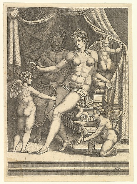 Venus and Vulcan Seated on a Bed and Three Putti