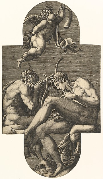 Apollo, Pan, and a Putto Blowing a Horn
