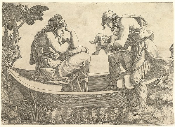 Fascinating Historical Picture of Giorgio Ghisi with Danae and the infant Perseus cast out to sea by Acrisius in 1543
