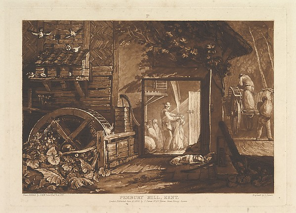 Fascinating Historical Picture of Joseph Mallord William Turner with Pembury Mill Kent (Liber Studiorum part III plate 12) on 6/10/1808