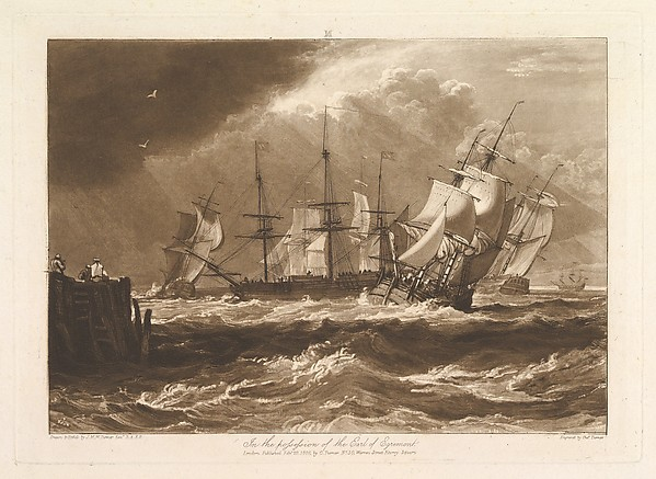 Fascinating Historical Picture of Joseph Mallord William Turner with Ships in a Breeze (Liber Studiorum part II plate 10) on 2/20/1808