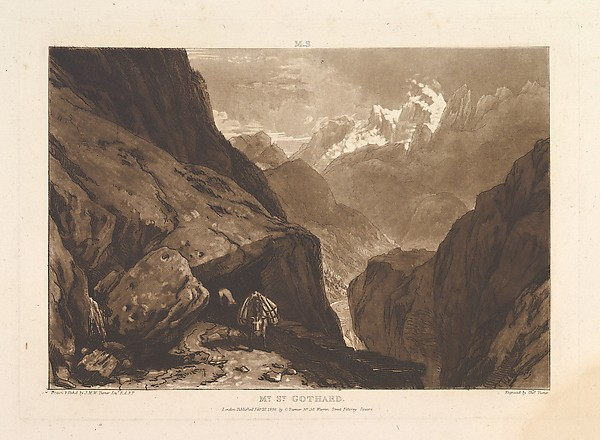 Fascinating Historical Picture of Joseph Mallord William Turner with Mt. St. Gothard (Liber Studiorum part II plate 9) on 2/20/1808