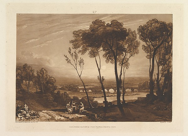 Fascinating Historical Picture of Joseph Mallord William Turner with The Bridge in Middle Distance (Liber Studiorum part III plate 13) on 6/10/1808