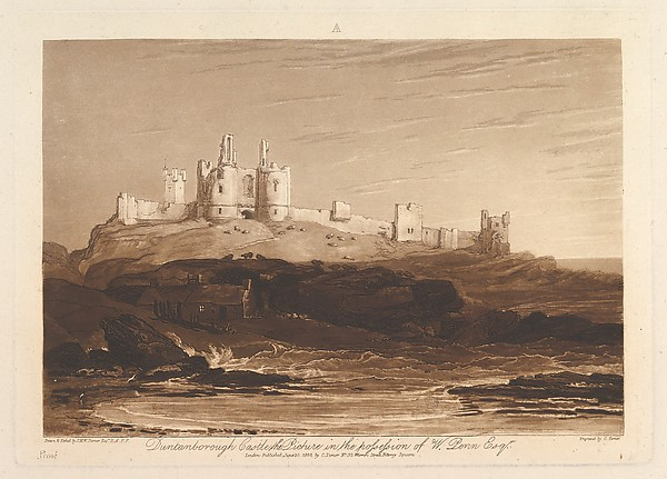 Fascinating Historical Picture of Joseph Mallord William Turner with Dunstanborough Castle (Liber Studiorum part III plate 14) on 6/10/1808