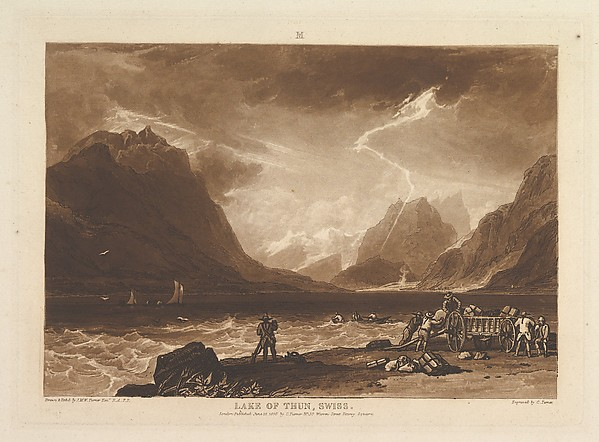 Fascinating Historical Picture of Joseph Mallord William Turner with Lake of Thun Swiss (Liber Studiorum part III plate 15) on 6/10/1808